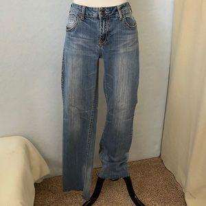 Cowgirl Tuff Fade Straight Leg Raw Bottom Jeans